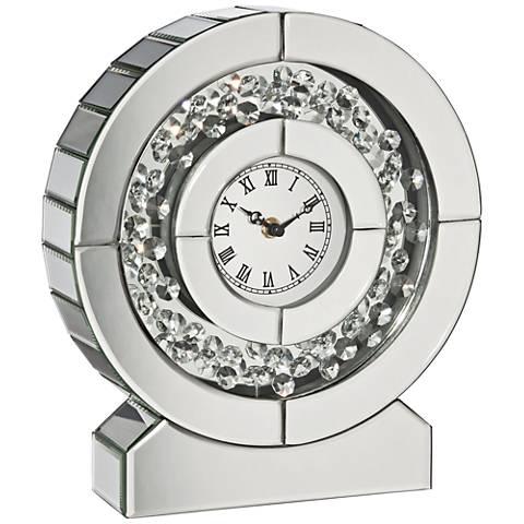 "Claudyn Silver Mirrored 12"" High Tabletop Clock"