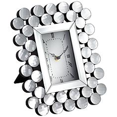 "Faywood Silver Mirrored Sphere 11"" High Tabletop Clock"