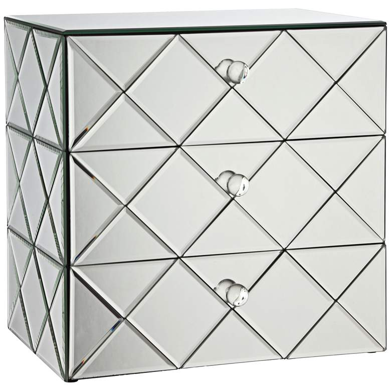 Newry 3-Drawer Silver Mirrored Jewelry Box