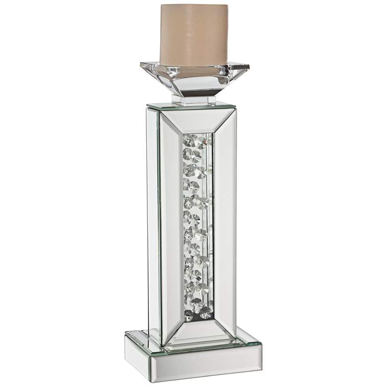 """Marilu 13 3/4"""" High Mirror and Crystal Bead Candle Holder"""