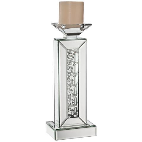Marilu Silver Mirrored Crystal Candle Holder