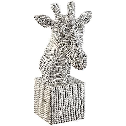 """Giraffe Bust 12 1/4"""" High Silver Statue"""