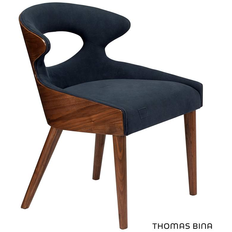 Tatiana Walnut and Blue Upholstered Accent Chair