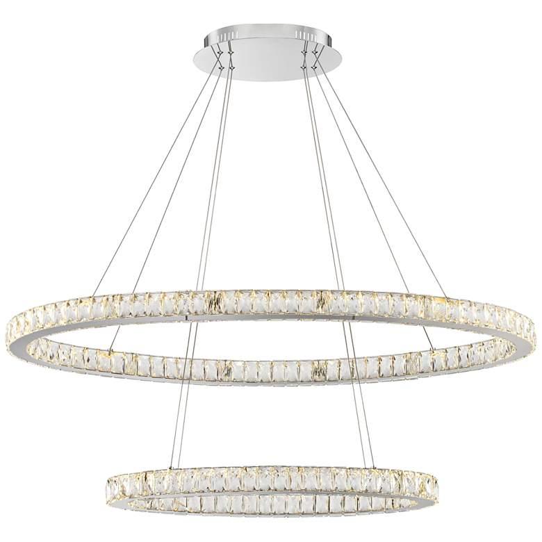 "Wainwright 48"" Wide Crystal Double-Ring Chrome LED Pendant"