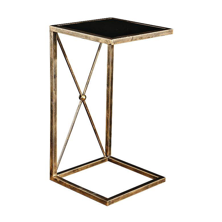 """Zafina 13"""" Wide Glass Top - Antique Gold Side Table"""