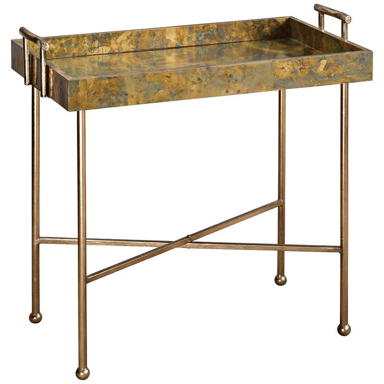 """Couper 29"""" Wide Burnished Gold Leaf Tray Table"""