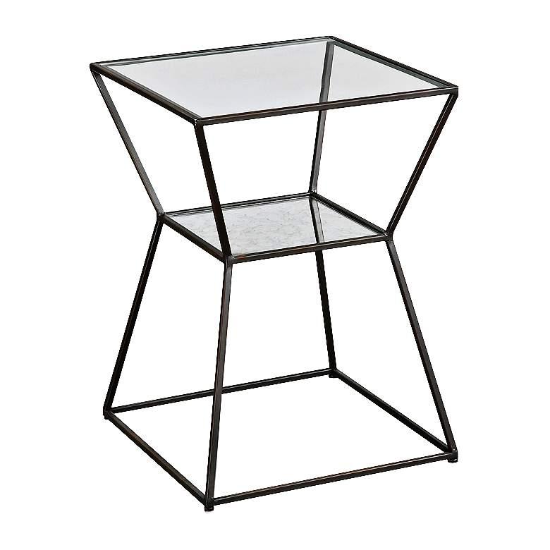 "Uttermost 23"" High Auryon Glass & Mirror Modern Accent Table"