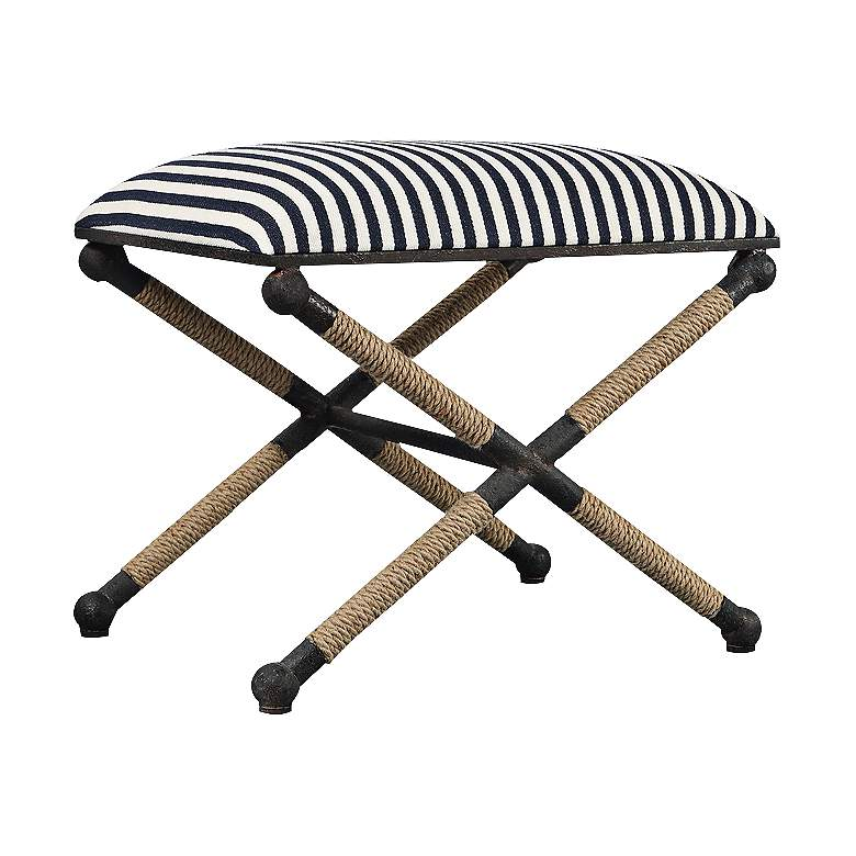 """Ruddock 23 3/4"""" Wide Navy Blue and White Striped Ottoman"""