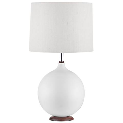 Nova Puffin Walnut Bone White Round Ceramic Table Lamp