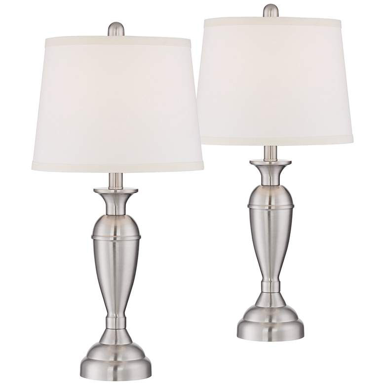Blair Brushed Nickel Metal Table Lamp Set of 2
