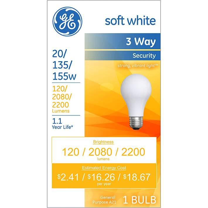 Ge Soft White 3 Way 20 135 155 Watt Security Light Bulb