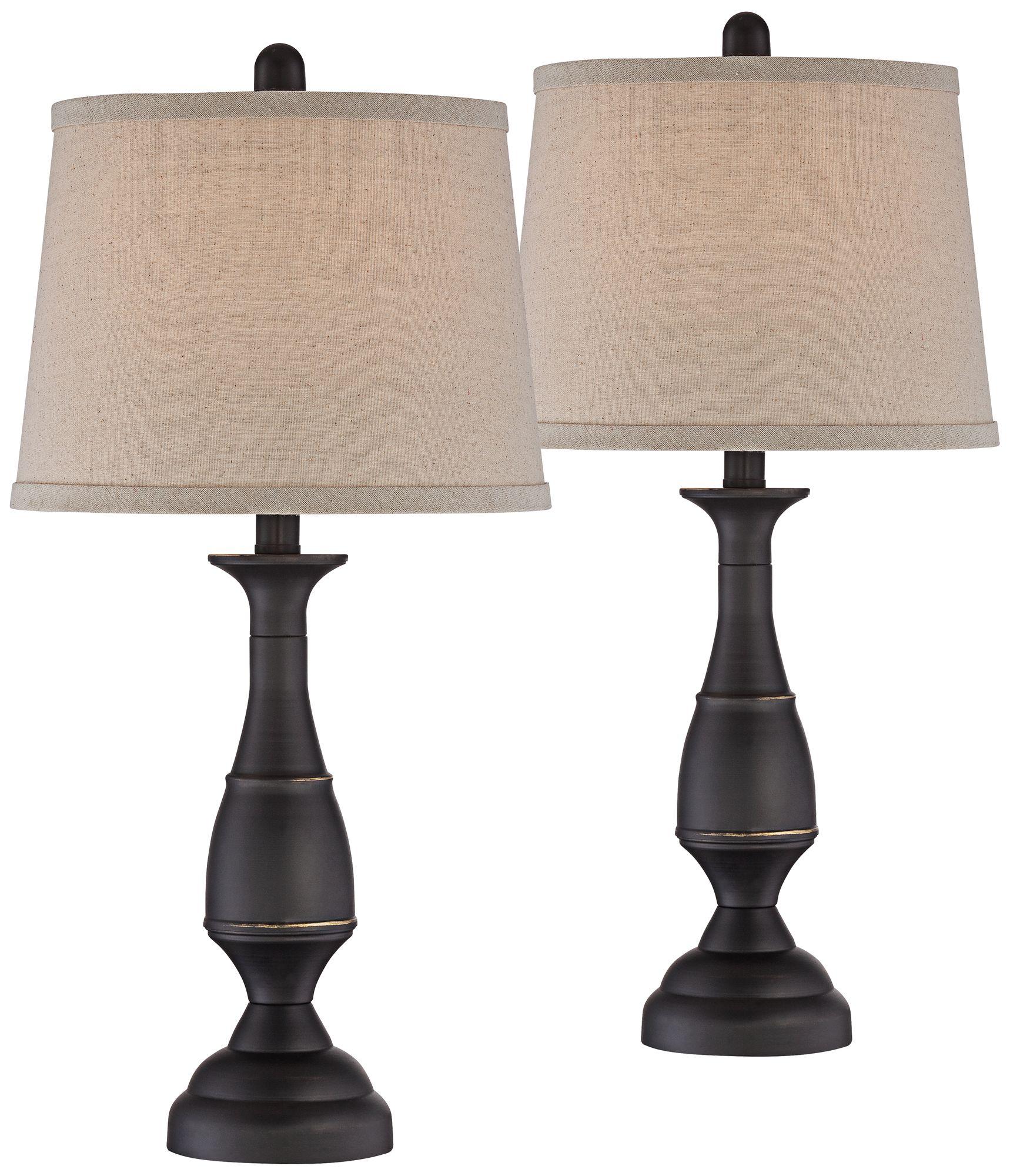 Attirant Ben Dark Bronze Metal Table Lamp Set Of 2
