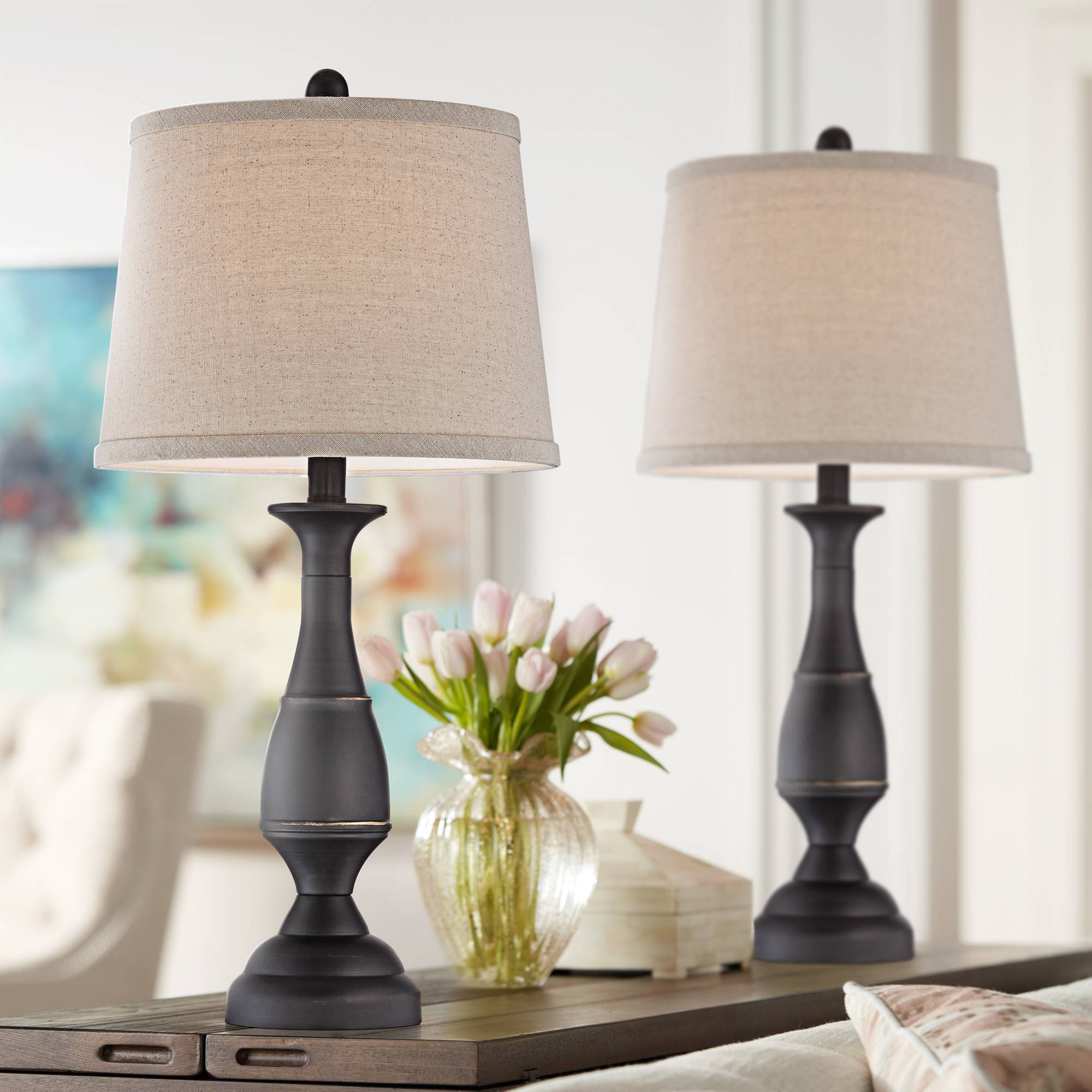 Details about Traditional Table Lamps Set of 2 Dark Bronze Metal for Living  Room Bedroom