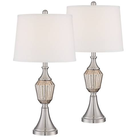 Haley Brushed Steel Mercury Glass Table Lamp Set of 2