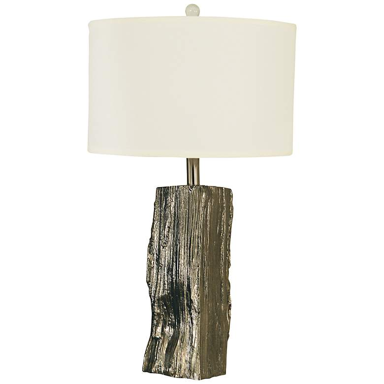 Thumprints Driftwood Polished Nickel Table Lamp