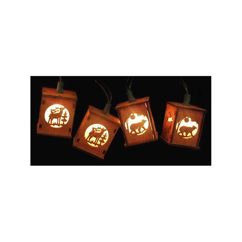 Deer Bear Winter Wooden Red Lantern 10-Light String