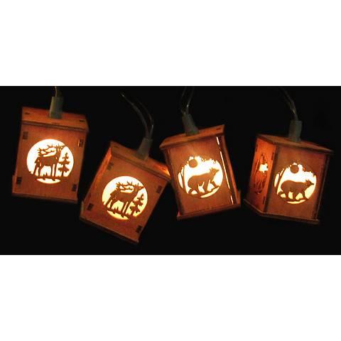 Deer Bear Winter Wooden Red Lantern 10-Light String Light