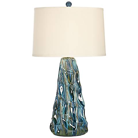Salt Water Taffey Turquoise Blue Ceramic Table Lamp