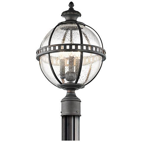 "Kichler Halleron 20 1/4""H Seedy Glass Outdoor Post Light"