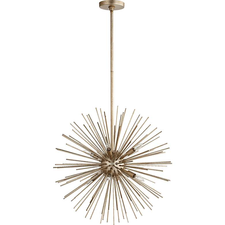 "Quorum Electra 23""W Silver Leaf 8-Light Pendant Chandelier"