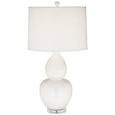 Contempo White Double Gourd Ceramic Table Lamp