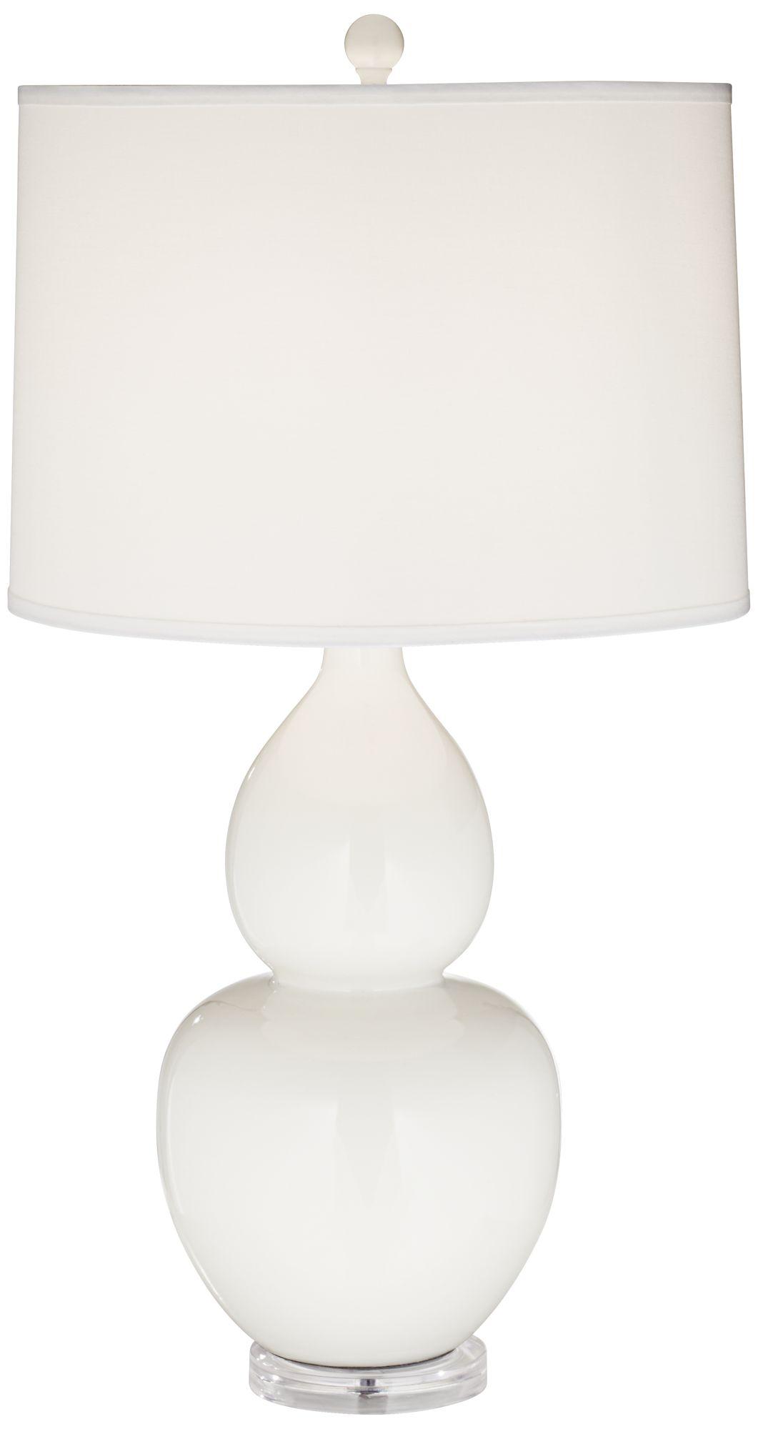 Merveilleux Contempo White Double Gourd Ceramic Table Lamp