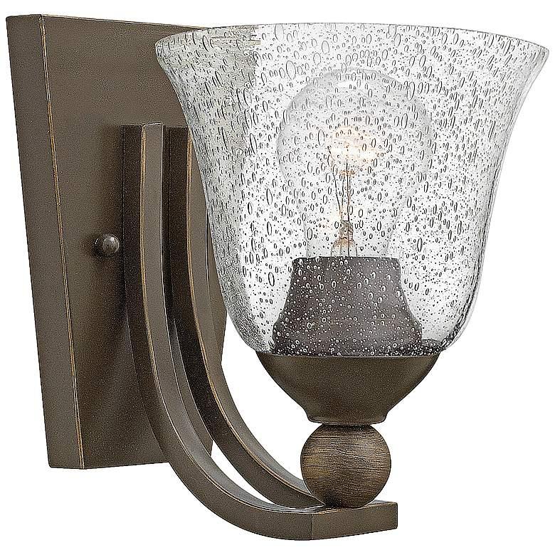 "Bolla 8 1/2"" High Bronze Wall Sconce w/ Clear Seedy Glass"