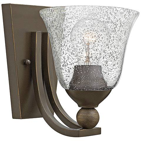 "Bolla 8 1/2"" High Bronze Wall Sconce w/ Clear Seedy Glass"