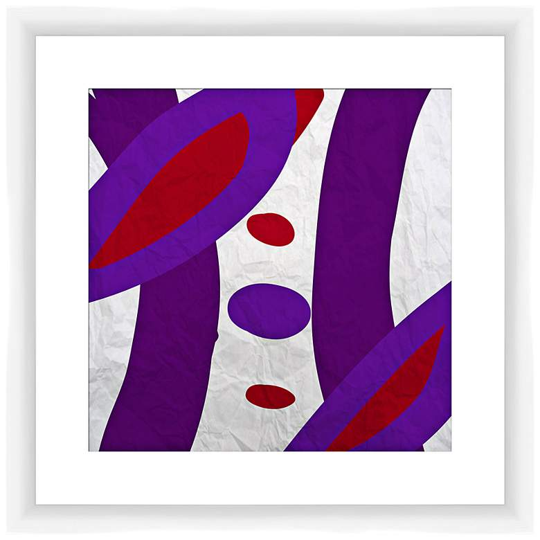 """Red and Violet I 17 1/2"""" Square Abstract Framed Wall Art"""