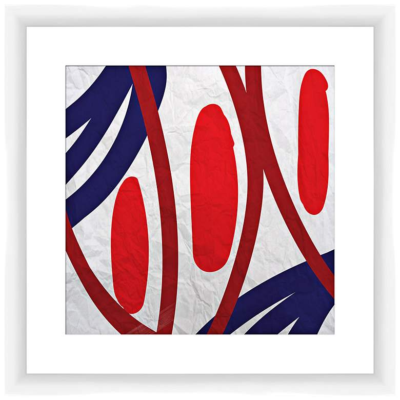 """Red and Blue Vibes I 17 1/2"""" Square Framed Wall Art"""