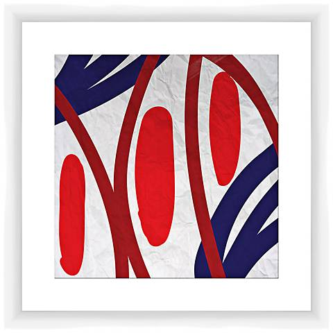 "Red and Blue Vibes II 17 1/2"" Square Framed Wall Art"