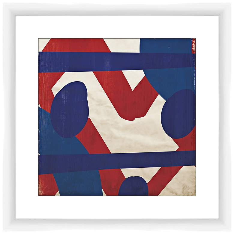 "Red and Blue Energy I 17 1/2"" Square Framed Wall Art"
