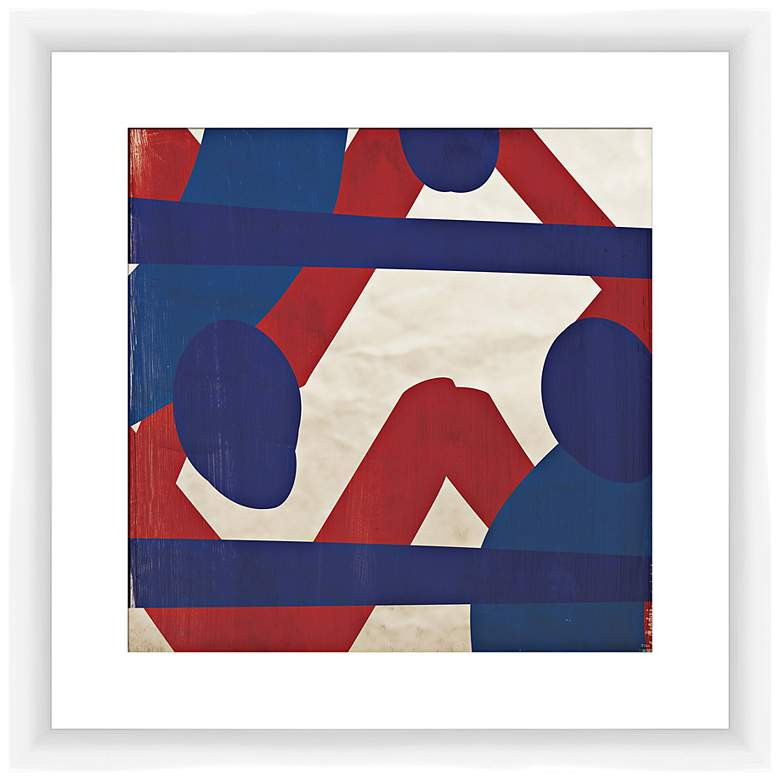 "Red and Blue Energy II 17 1/2"" Square Framed Wall Art"