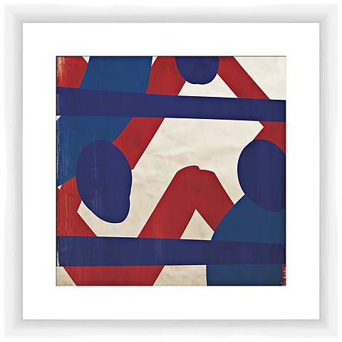 """Red and Blue Energy II 17 1/2"""" Square Framed Wall Art"""