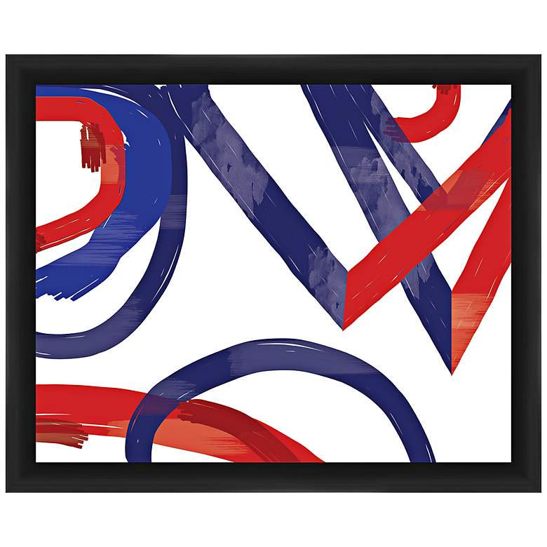 "Triangles and Circles 22"" Wide Framed Abstract Wall Art"
