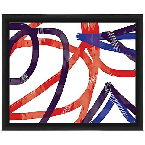 """Purple Swirl 22"""" Wide Framed Abstract Wall Art"""