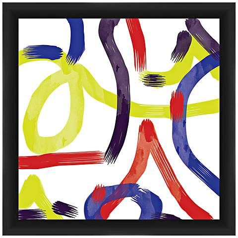 "Watercolor Strokes 18"" Square Framed Abstract Wall Art"
