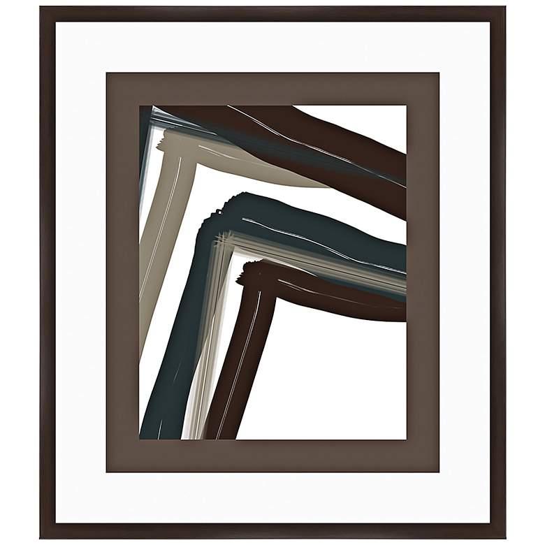 """Chevron Zoom II 32"""" High Framed Abstract Wall Art"""