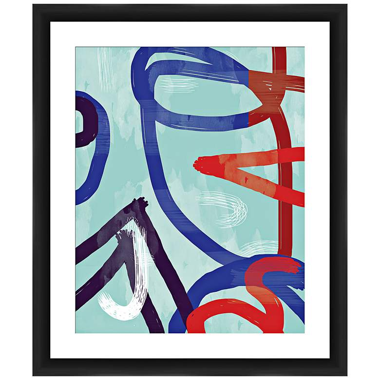 "Swirls 26"" High Framed Abstract Wall Art"