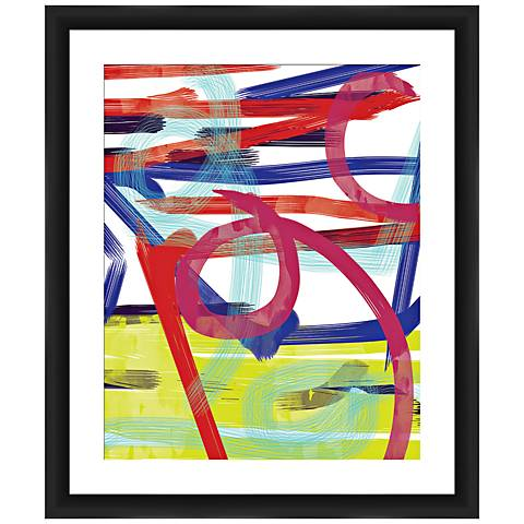 "Watercolor Swirls 26"" High Framed Abstract Wall Art"