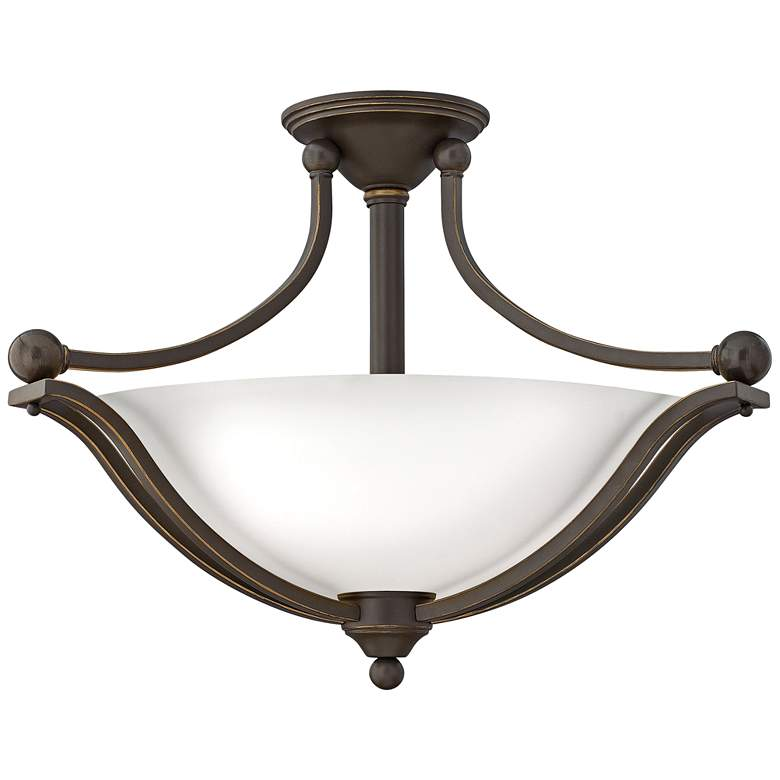 "Bolla 23 1/4""W Bronze Ceiling Light w/ Etched Opal Glass"