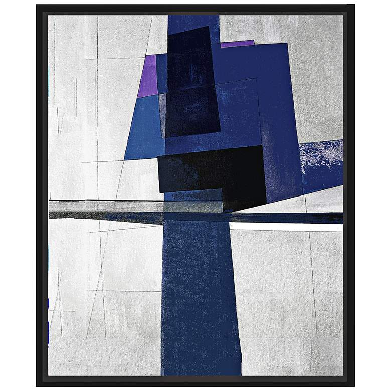 "Dark Blues I 25 3/4"" High Framed Abstract"