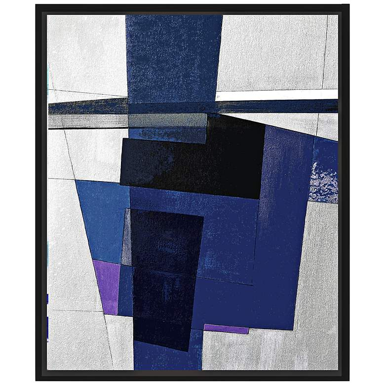 "Dark Blues II 25 3/4"" High Framed Canvas Wall Art"