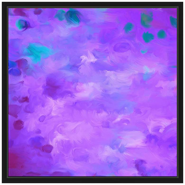 "Purple Dots I 21 3/4"" Square Framed Canvas"