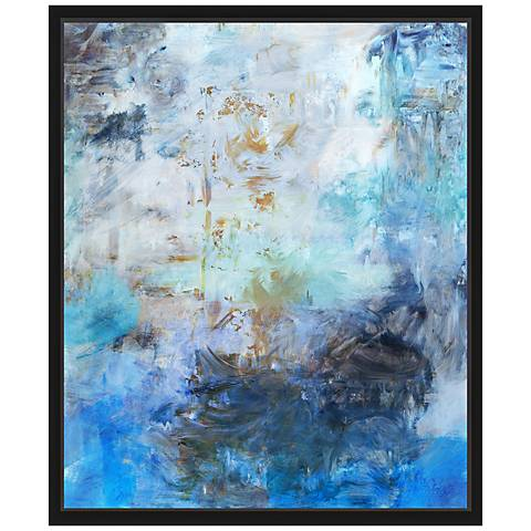 "Blue Abstraction I 25 3/4"" High Framed Canvas Wall Art"