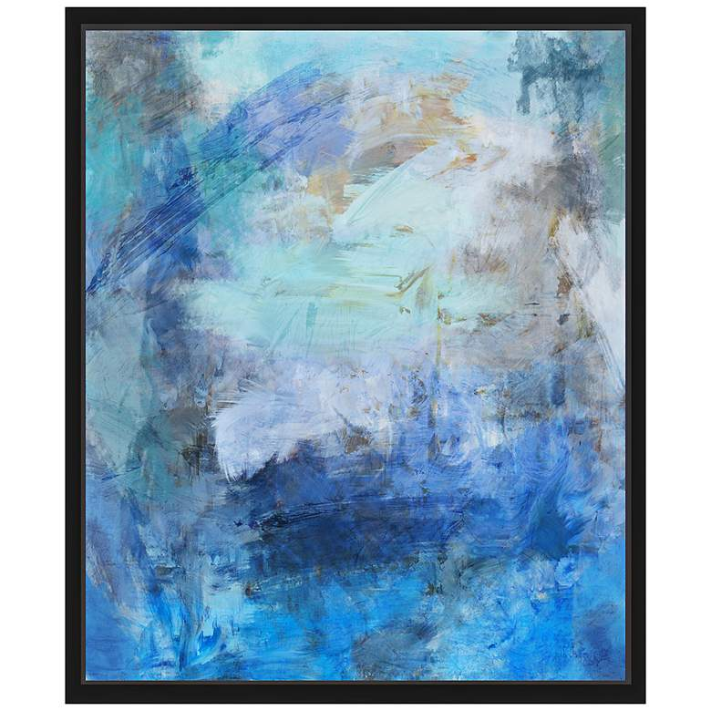 "Blue Abstraction II 25 3/4"" High Framed Canvas Wall Art"