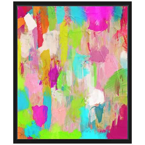"""Hot Pink Mess II 25 3/4"""" High Framed Canvas Wall Art"""