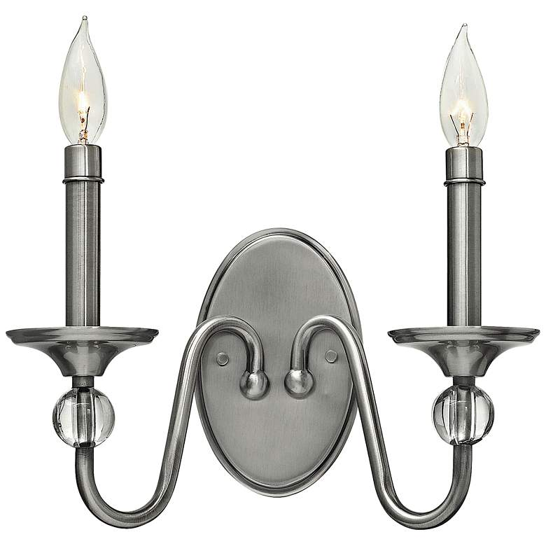 """Eleanor 9"""" High Polished Antique Nickel 2-Light Wall Sconce"""