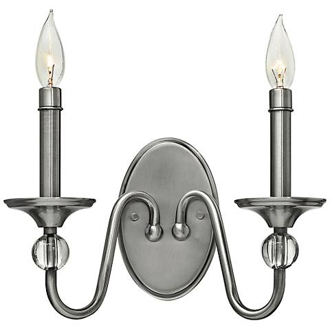 "Eleanor 9"" High Polished Antique Nickel 2-Light Wall Sconce"