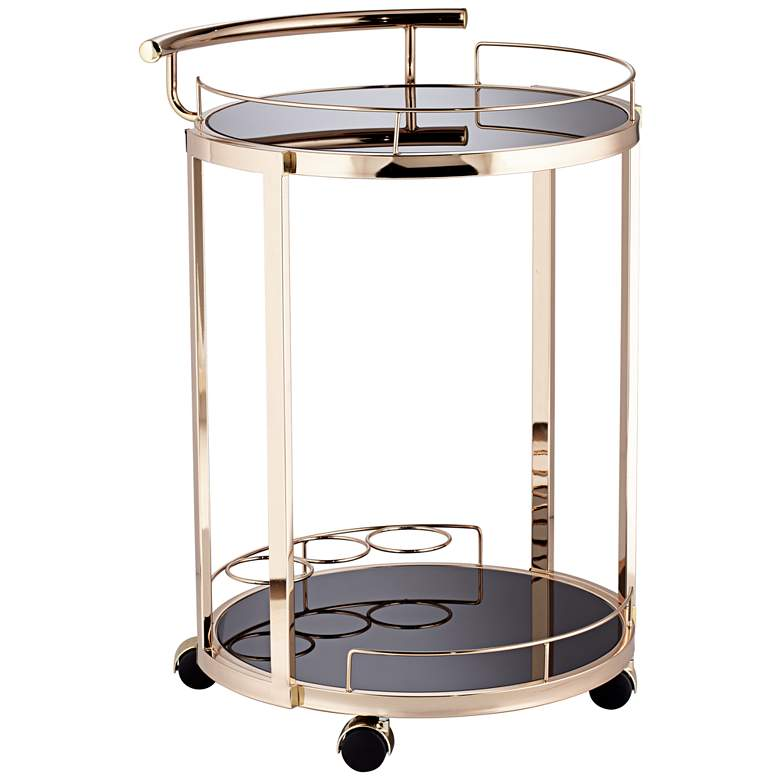 """Treviso 19"""" Wide Black Glass and Gold Round Serving Bar Cart"""